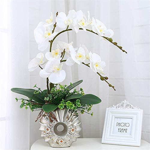 DZX Flor de orquídea Artificial Phalaenopsis Bonsai con Maceta de cerámica Decoración de Centro de Mesa para el hogar, Blanco, A, Bonsai Flores Artificiales