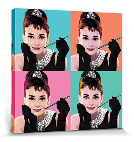 1art1 Audrey Hepburn - Pop Art Cuadro, Lienzo Montado sobre Bastidor (40 x 40cm)