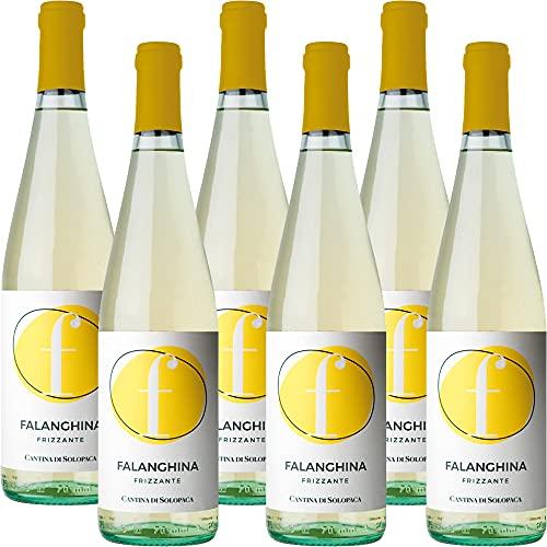 Falanghina del Beneventano Frizzante Igp | Cantine di Solopaca | Vino Bianco Campania | Abbinamento Pizza | 6 Bottiglie 75Cl | Idea Regalo