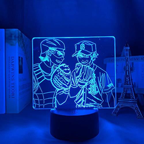Lámpara 3D Anime Ace of Diamond Led Light para decoración de dormitorio Luz de noche Niños Regalo de cumpleaños Manga Noche Luz Cuarto Control remoto