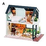 Dynamicoz Kit de casa de muñecas en Miniatura de Bricolaje con Muebles Regalo de Arte romántico Mini casa de muñecas de Madera, Estilo nórdico, Cubierta a Prueba de Polvo