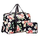 For Airlines Foldable Travel Duffel Bag Tote Carry on Luggage Sport Duffle Weekender Overnight for Women and Girls (Black Peony-1109)