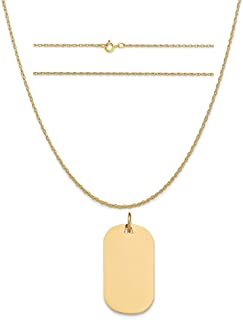 K&C 14k Yellow Gold Plain .009 Gauge Engravable Dog Tag Disc Charm on a Rope Chain Necklace