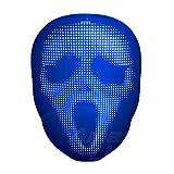 WYCY LED Masque Halloween Masque Horreur avec Masque Lumineux Intelligent Programmable par Application Masque à Motif Personnalisé Bricolage pour Costume Cosplay Party (Chargement USB)