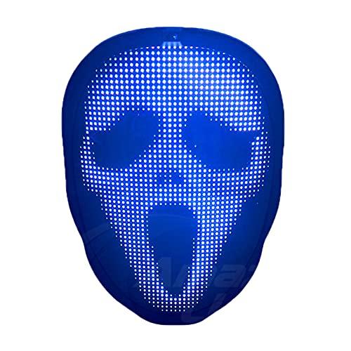 WYCY LED Masque Facial Allume Le Masque Lumineux avec App Programmable Lntelligent Masque Lumineux Bricolage Masque de Motif Personnalisé pour Costume Cosplay Party (Chargement USB)