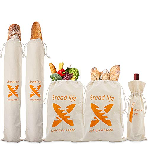 Bread Bags, Cotton Pack of 5 bread bags for homemade bread-Reusable Food And Vegetable Storage, Baguette, Sandwich, and Bonus Wine Drawstring Bread Bag