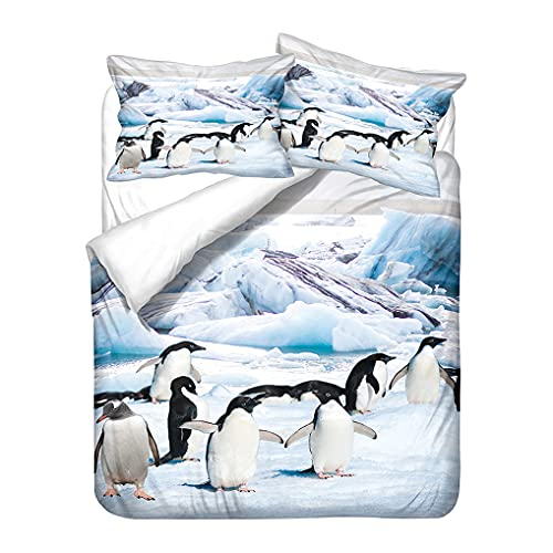 Infantil Funda de edredón Impresión 3D Animales Pingüino Estampado Ropa de cama Azul Oceano Antártico Tema Funda nórdica Funda de almohada Niño Niña Microfibra (Estilo 3, 180x220 cm - Cama 105 cm)