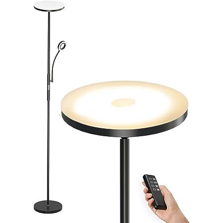 Anten Lampadaire Sur Pied Salon Dimmable 30W 2000LM | avec LED Liseuse Flexible 5W | 3 Colors Température Variable | Modern Lampe Sur Pied Télécommande pour Chambre Bureau Café Hôtel - Noir