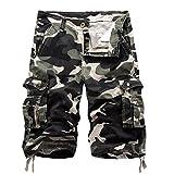 AYG Bermudas Cargo Shorts Hombres Pantalones Cortos Leisure Casual 29-40, A083 light army green, W34(ES 44)/34'Cintura