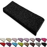 casa pura Shaggy Stufenmatten Barcelona Schutz für Treppenstufen | weicher Hochflor | GUT-Siegel | rechteckig | Einzeln oder als Set | viele Farben | 1 Stück | Schwarz