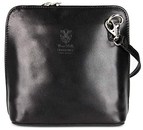 Belli ital. Ledertasche Damen Umhängetasche Handtasche Schultertasche - 17x16,5x8,5 cm (B x H x T) (Black)