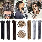 12 Inch Short Dreadlocks Extensions 5 strands Soft Handmade Faux Locs Crochet Dreads Hairpieces for Men Reggae Hip-Pop Natural Blonde