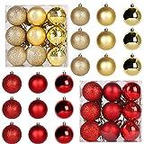 48 Piezas Bola de árbol de Navidad de Plástico Irrompible Juego de Bolas para árbol de Navidad Bolas de Navidad De Plástico Bolas de árbol De Navidad Adorno para Vacaciones Boda Fiesta Decoración