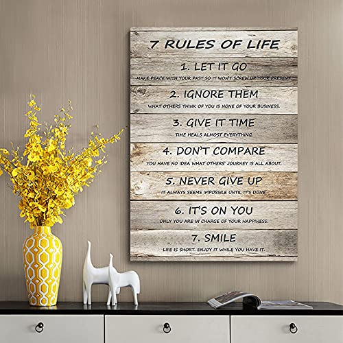 7 Rules of Life Poster, 7 Rules of Life Motivational Wall Art, Inspirational Quotes Canvas Prints, Retro Home Decor, Rustic Wood Canvas Paintings, Vintage Family Rules Canvas Wall Art, Life Rules Wall Art Vertical Poster, Quotes Wall Decor, for Home, Office Decor 12x16 Inch No Frame (Grey, 12x16)