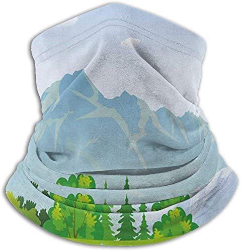 Zomer in Meadows Thema Bergen Bloemen Bos Illustratie Unisex Winter Fleece Neck Warmer Gaiters Haarband Koud Weer Tube Gezicht Masker Thermische hals Sjaal Outdoor Uv Bescherming Party Cover