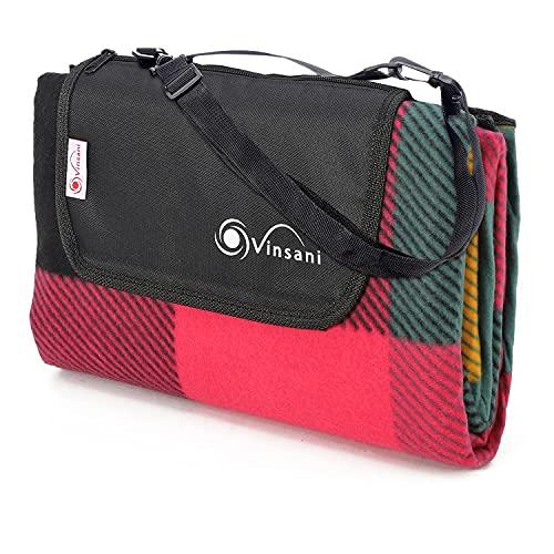 Vinsani, Picknickdecke, faltbar, 170 x 130 cm, wasserdichte und sanddichte Unterseite, ideal für Camping und Picknick, mehrfarbig