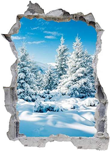 Tatuaje de pared en 3D agujero de la pared Sticker Pegatina Adhesivo Calcomanía Decoración para dormitorio o la sala de estar,Invierno nieve hielo bosque naturaleza 80x120cm