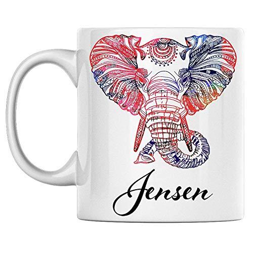 Taza de elefante personal con nombre Jensen, taza de café de cerámica blanca impresa en ambos lados, perfecta para cumpleaños para él, ella, niño, niña, esposo, esposa, hombres y mujeres.