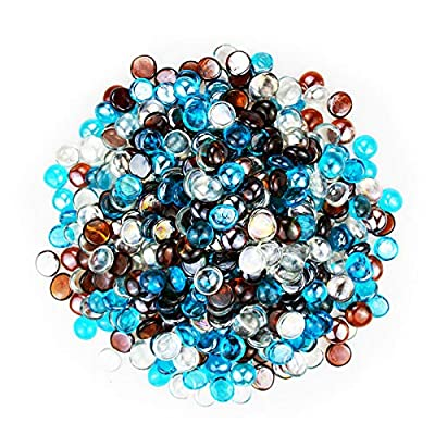 Uniflasy Fire Glass for Fire Pit, Blended Fire Glass Beads Round Glass Rocks for Natural or Propane Fireplace, Fire Glass Drops, Firepit Glass Rocks for Outdoors and Indoors Firepit Glass,10 Pounds