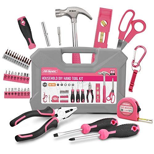 Hi-Spec 39-teiliges Heim DIY-Werkzeug Set. Handwerkzeuge & 2-in-1-Schraubendreher-Bit-Griff für Reparaturen. Mit Karabiner-Schlüsselanhänger & Mini-Flaschenöffner.