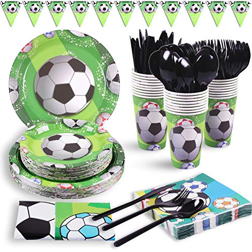 "DuoCute Soccer Party Supplies Sports Themed Pack Children's Birthday Party Supply Set 12 Guests/ 86 Pieces Bonus Tablecloth(Cups Forks Spoons 9""&7"" Plates Napkins Drinking Straws Triangle Banner)"