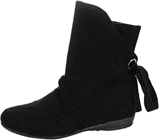 〓COOlCCI〓Women's Ankle Boots & Booties, Ankle Bootie Closed Toe Lace up Suede Casual Low Stacked Heel Boots Snow Boot