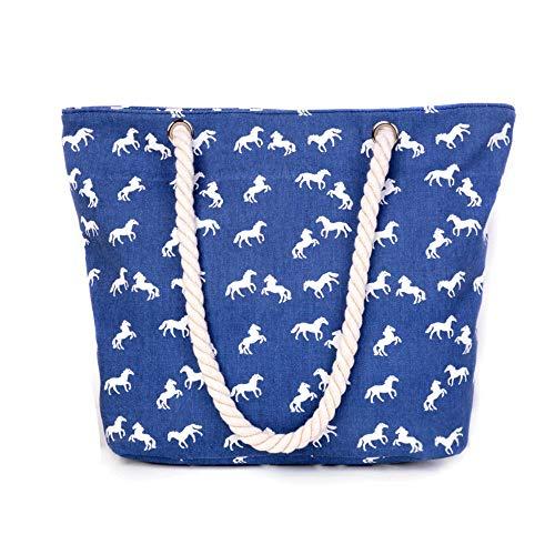 Shopper Galopper von Pferdeschnickschnack - Tasche aus Canvas mit Pferde-Motiv (Blau)