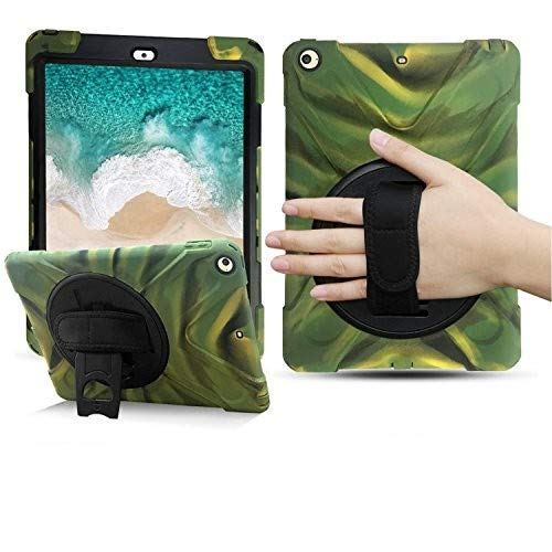 iPad 5th/6th Generation Case, BRAECN [Heavy Duty] [Shockproof] Rugged Protective Case Built-in 360 Degree Swivel Kickstand/a Hand Strap/a Shoulder Strap for Apple iPad 9.7 2017/2018 Case(Camouflage)