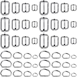 Purse Hardware, Paxcoo 80pcs Buckles and D Rings for Purses, Pouch, Lanyard and Handbags (Assorted Sizes)