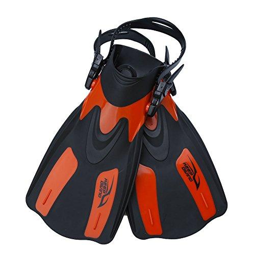 SolUptanisu Aletas de Natación para Adultos,Aleta Entrenamiento de Buceo Professional Regulable Ajustable Diving Swim Fins Aletas de Snorkel Flipper Equipo de Buceo(Negro, Rojo)(L-Rojo)