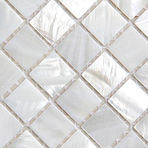 Perlmutt-Mosaikfliesen, Flussbett, Muschel, Weiß, quadratische Fliesen, 25 x 25 mm
