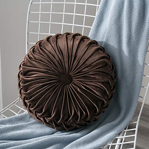 Lucoss Home - Almohada redonda de terciopelo de calabaza hecha a mano, cojín de respaldo decorativo para el hogar de 13.7 pulgadas, para silla, sofá, cama (café)