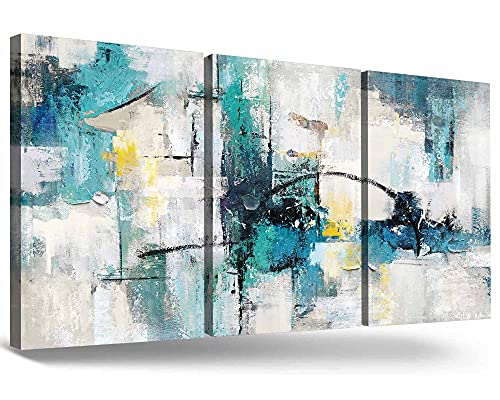 Turquoise Decor for Living Room Large Size Teal Wall Art Blue Grey Black Wall Decoration 3 Panel...