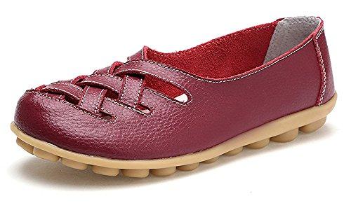 Mujer Loafers Mocasines de Cuero Suave Zapatos de Conducción Cómodos Casual Zapatillas del Barco