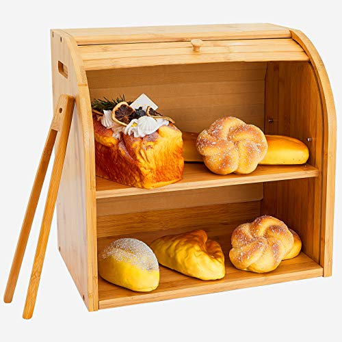 Zhenrui Bamboo Bread Box 2 Adjustable Layer Breadbox, Countertop Bread Storage Bin, Rolltop Breadbox with Toaster Tong, Farmhouse Style Bread Holder for Kitchen, Large Capacity Self-assembly