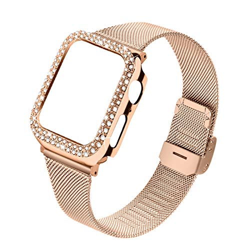Joyozy bands Compatible With Apple Watch 40mm,Women Bling Protective Crystal Diamond Case with Loop Mesh Strap For iwatch Series 6/SE/5/4(No Tool Needed)Only 40mm iwatch (Rose Gold, 40MM)