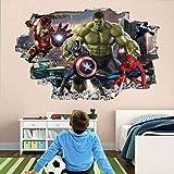 Pegatinas de pared Héroe 3D Etiqueta de la pared Nursery Decoraciones de la pared Murales Calcomanías Vengadores Superhero 60x90cm Vinilo Papel tapiz Vinilo Habitación para niños Decoración de pared