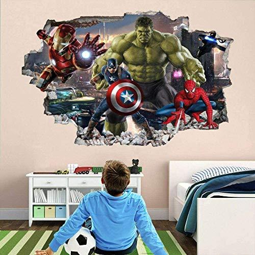 Pegatinas de pared Héroe 3D Etiqueta de la pared Nursery Decoraciones de la pared Murales Calcomanías Vengadores Superhero 60x90cm Vinilo Papel tapiz Vinilo Habitación para niños Decoración de