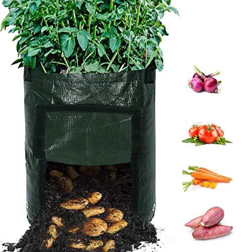 TOOGOO Paquet De 4 Sacs De Culture De Pomme De Terre De Jardin Durables De 10 Gallons, Pots D'Aération avec Couvercle D'Entrée Et Poignées Portable, Planteur De Récipient De Sol
