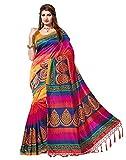 Jaanvi fashion de las Mujeres de Seda del Arte Printed Sari Gratuito Multi Size
