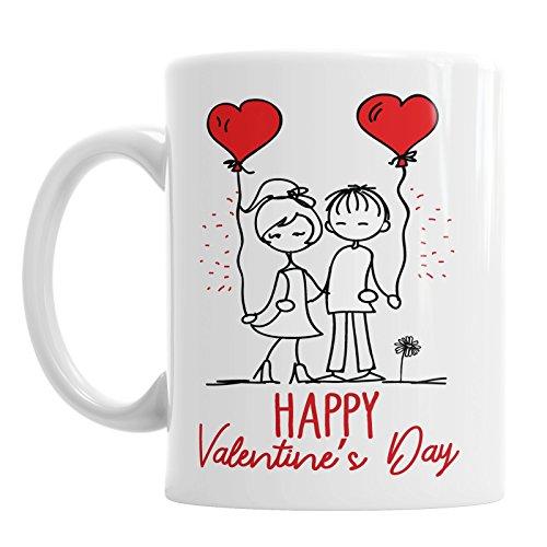 Happy Valentine 's Day mok coupé holding love ballonnen hart vriendin