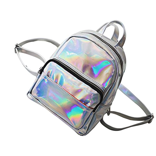 Tinksky Women Laser Hologram Shoulder Bag School Backpack Rucksack Beiläufiger Mini Holographic G for Playing Room (Silver)