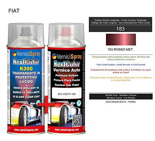 Kit Vernice Auto Spray 183 ROSSO MET. e Trasparente Lucido Spray - kit ritocco vernice metallizzata 400+400 ml di VerniciSpray