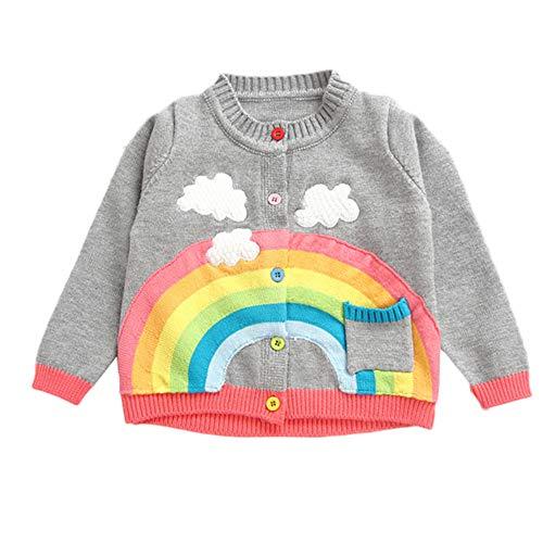 FeiliandaJJ Baby Mädchen Jacke Herbst Winter Stricken Knopf Pullover Strickjacke Wolke Regenbogen Muster Mantel Baby Coat Girl 90-130CM (130 (4~5Jahre alt), Grau)