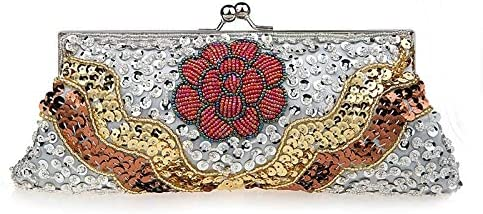 MLacepink Womens Pleated Satin Evening Handbag Clutch Purse with 3D Floral for Wedding Cocktail Party
