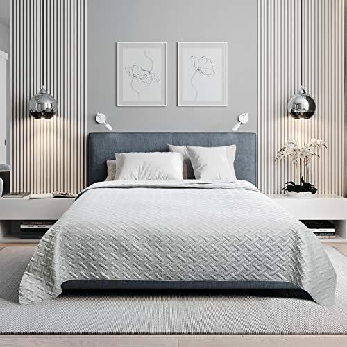WOLTU Tagesdecke Bettüberwurf mit geometrischesmuster, Schlafzimmer Wohndecke weich und hautfreundlich,Bettdecke aus Mikrofaser mit Ultraschall genäht, Stepp Decke für Bett, 240x260 cm, Hellgrau