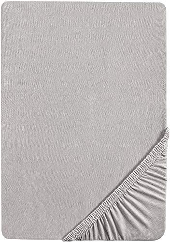 biberna 0002744 Feinbiber Spannbetttuch (Matratzenhöhe max. 22 cm) (Baumwolle) 140x200 cm -> 160x200 cm, sturmgrau