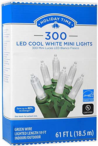 Holiday Time 300 LED String Lights Cool White Mini Lights 61 FT Long Plug in for Indoor Outdoor Christmas Tree Garden Wedding Party Decoration.