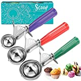 Cookie Scoop Set, Ice Cream Scoop Set, 3 PCS Ice Cream Scoops Trigger Include Large Medium Small Size Cookie Scoop, Polishing Stainless Steel 18/8 Melon Scooper - Elegant Package