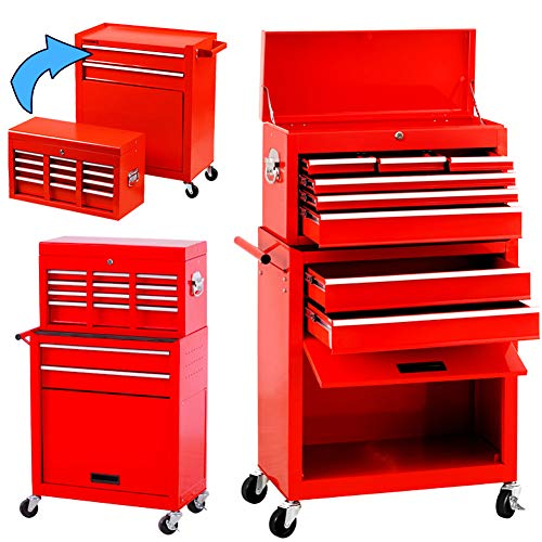 Pataku 8-Drawer Rolling Tool Chest, Big Toolbox with Wheels and Drawers, Steel Tool Storage Cabinet with Lock for Workshop, Machinery, Garage, Warehouse (Red)